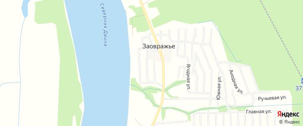 Карта деревни Заовражья в Архангельской области с улицами и номерами домов