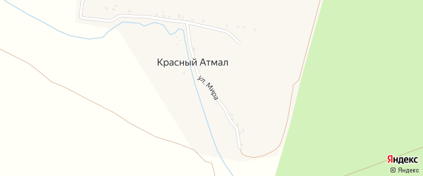 Улица Мира на карте поселка Красного Атмала с номерами домов