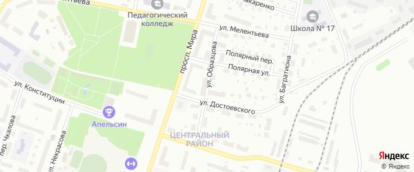 Улица Образцова на карте Котласа с номерами домов