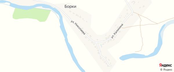 Улица Николаева на карте поселка Борки с номерами домов