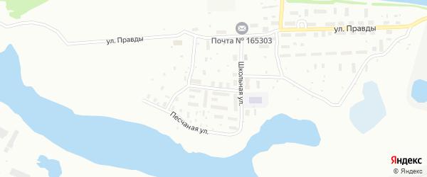 Школьный переулок на карте Котласа с номерами домов
