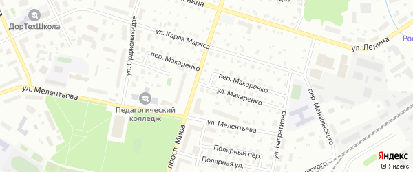 Улица Макаренко на карте Котласа с номерами домов