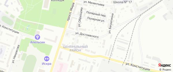 Улица Достоевского на карте Котласа с номерами домов