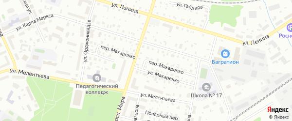 Переулок Макаренко на карте Котласа с номерами домов