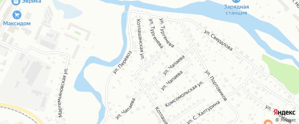Перевозный переулок на карте Котласа с номерами домов
