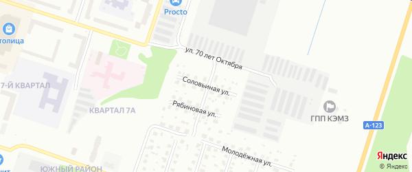 Соловьиная улица на карте Котласа с номерами домов