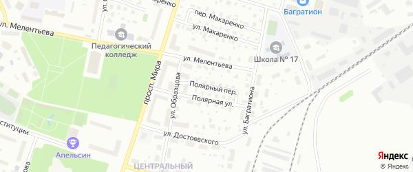 Полярный переулок на карте Котласа с номерами домов