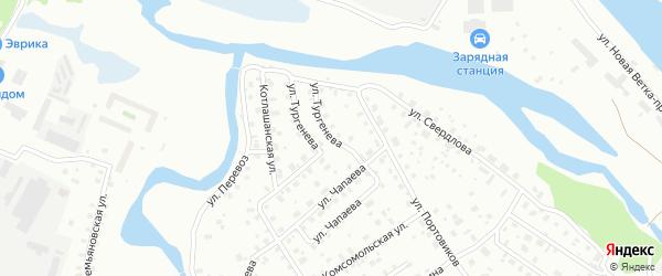 Улица Тургенева на карте Котласа с номерами домов