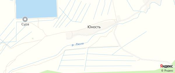 Карта поселка Юности в Чувашии с улицами и номерами домов