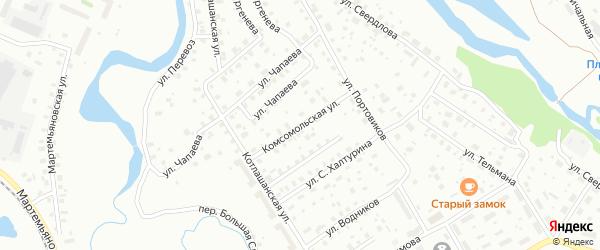 Комсомольская улица на карте Котласа с номерами домов