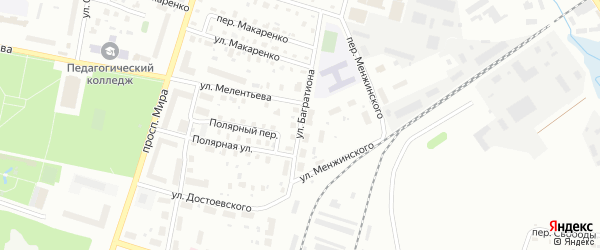 Улица Багратиона на карте Котласа с номерами домов