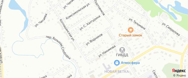 Улица Водников на карте Котласа с номерами домов