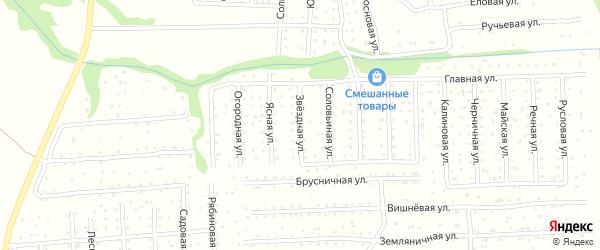 Звездная улица на карте садового некоммерческого товарищества СОТ Двинские Зори с номерами домов