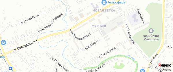 Переулок Володарского на карте Котласа с номерами домов