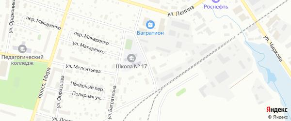 Переулок Менжинского на карте Котласа с номерами домов