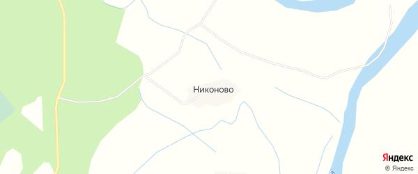 Карта деревни Никоново в Архангельской области с улицами и номерами домов