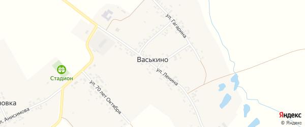 Учительская улица на карте деревни Васькино с номерами домов