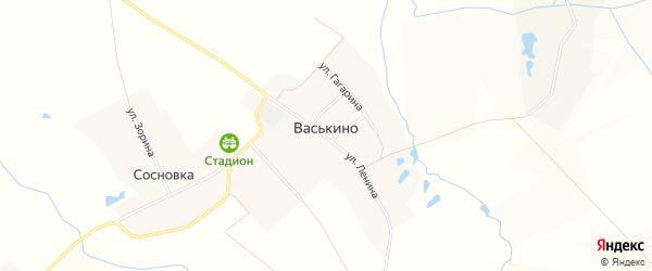 Карта деревни Васькино в Чувашии с улицами и номерами домов