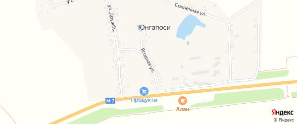Ягодная улица на карте деревни Юнгапосей с номерами домов