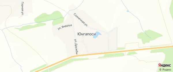 Карта деревни Юнгапосей в Чувашии с улицами и номерами домов