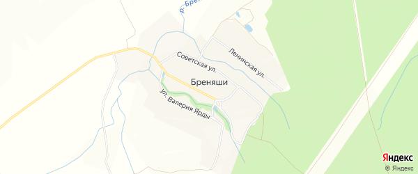 Карта деревни Бреняши в Чувашии с улицами и номерами домов
