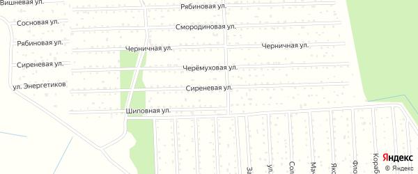 Сиреневая улица на карте железнодорожной станции Новой Гари с номерами домов