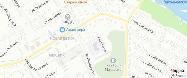 Светлая улица на карте Котласа с номерами домов