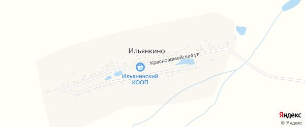Красноармейская улица на карте деревни Ильянкино с номерами домов