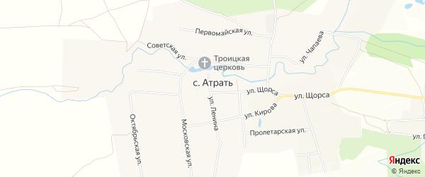 Карта села Атрать в Чувашии с улицами и номерами домов