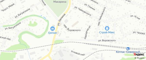 Переулок Воровского на карте Котласа с номерами домов