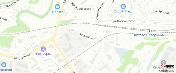 Угловой переулок на карте Котласа с номерами домов