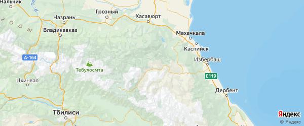 Карта Хунзахского района республики Дагестан с городами и населенными пунктами