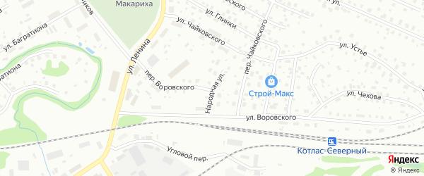 Народная улица на карте Котласа с номерами домов