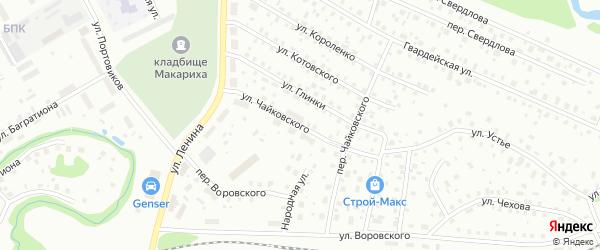 Улица Чайковского на карте Котласа с номерами домов