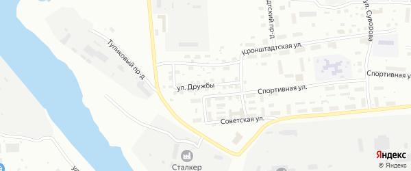Улица Дружбы на карте Котласа с номерами домов