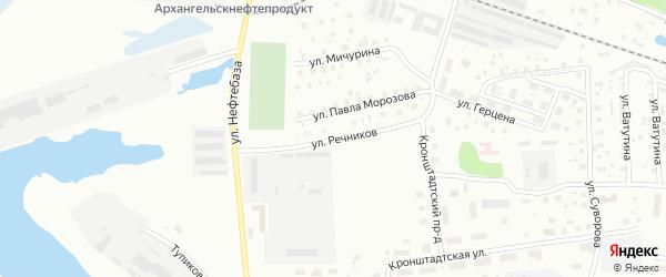Улица Речников на карте Котласа с номерами домов