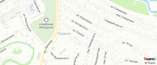Улица Глинки на карте Котласа с номерами домов