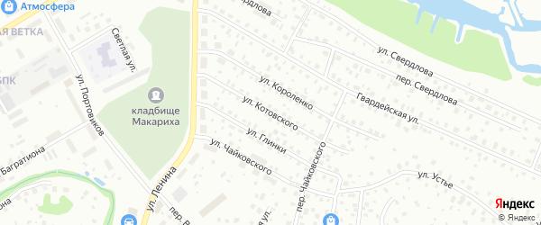 Улица Котовского на карте Котласа с номерами домов