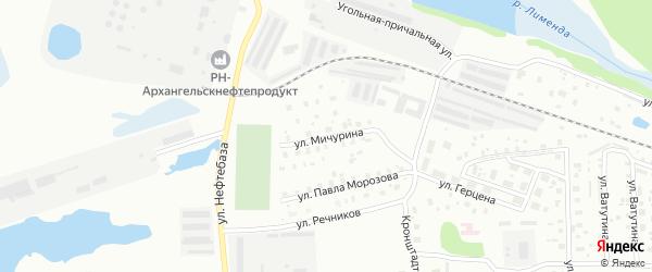 Улица Мичурина на карте Котласа с номерами домов