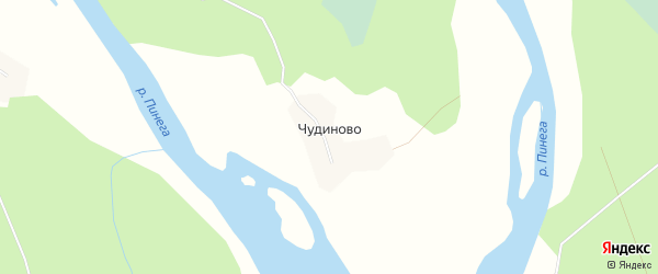 Карта деревни Чудиново в Архангельской области с улицами и номерами домов