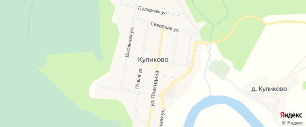 Карта деревни Куликово в Архангельской области с улицами и номерами домов