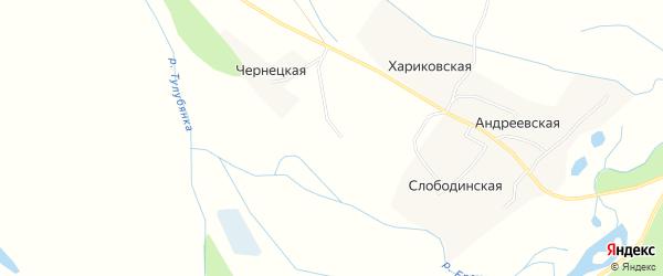 Карта Чернецкой деревни в Архангельской области с улицами и номерами домов