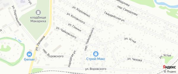 Переулок Чайковского на карте Котласа с номерами домов