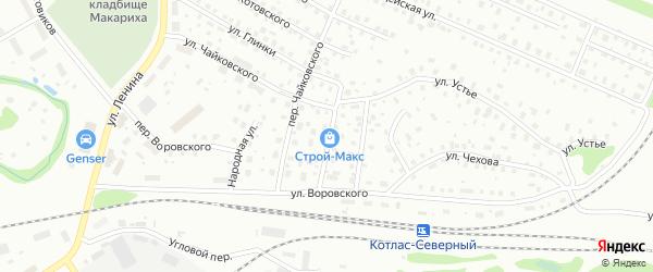 Народный переулок на карте Котласа с номерами домов