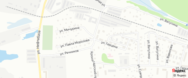 Улица П. Морозова на карте Котласа с номерами домов