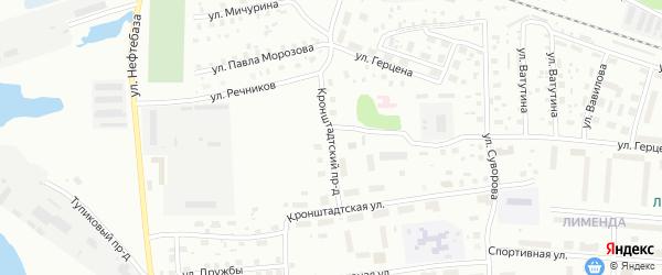 Кронштадтский проезд на карте Котласа с номерами домов