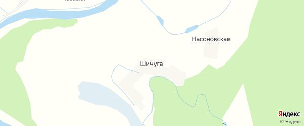 Карта деревни Шичуги в Архангельской области с улицами и номерами домов