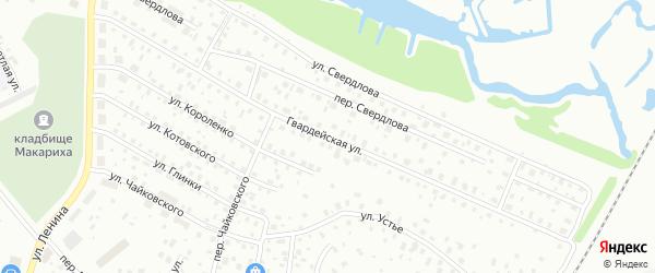 Гвардейская улица на карте Котласа с номерами домов