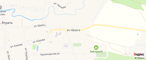 Улица Щорса на карте села Атрать с номерами домов