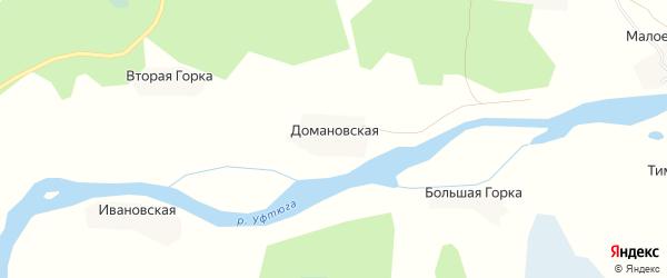 Карта Домановской деревни в Архангельской области с улицами и номерами домов